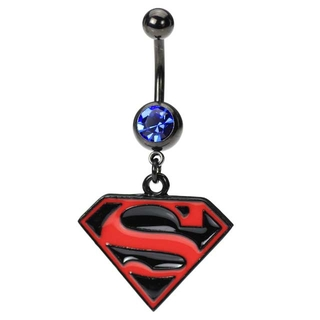 Superman Belly Ring Black & Red