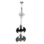Long Dangling CZ Batman Navel Ring image