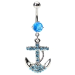 Anchor Navel Ring - Aqua Cubic Zirconia image