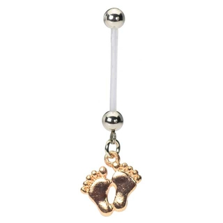 Pregnancy Belly Ring with Baby Feet