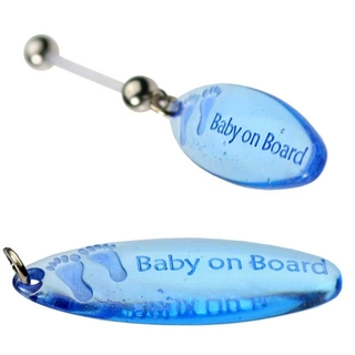 Pregnancy Belly Button Ring Blue Feet