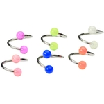6-Pack 16 Gauge Glow in the Dark Twist Belly Rings image