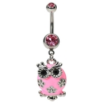 Pink Owl Belly Button Ring image