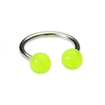 14g Glow in the Dark Green Horseshoe Ring image