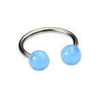 14g Glow In The Dark Blue Horseshoe Barbell image
