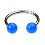16 Gauge Horseshoe Lip Ring - Blue Glow in the Dark image