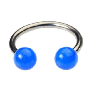 16 Gauge Horseshoe Lip Ring - Blue Glow in the Dark