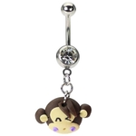 Cute Dangling Monkey Face Belly Ring image