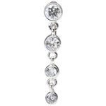 Top Down Sterling Silver Belly Ring Clear Gem image