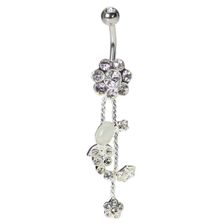 Sterling Silver Clear Flower Belly Ring