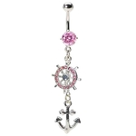 Dangling Pink Anchor Belly Button Ring image