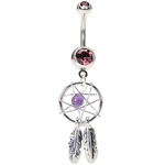 Purple Dream Catcher Belly Ring image