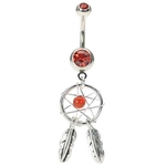 Red Dream Catcher Belly Button Ring image