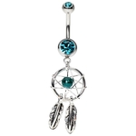 Dreamcatcher Belly Ring - Blue Zirconia image
