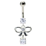 Fancy Dangling Bow Navel Ring image