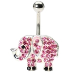 Pink Elephant Navel Ring image