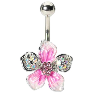 Pink Hawaiian Flower Belly Ring