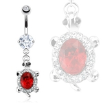 Turtle Belly Ring - Ruby Red Gem image