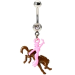 Buckin' Bronco Rodeo Girl Belly Ring image