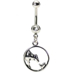 Dangling Chicken & Cow Circle Belly Ring image