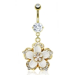 Gold Plated Belly Ring Hawaiian Flower image
