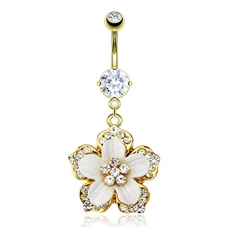 Gold Plated Belly Ring Hawaiian Flower