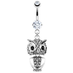 Owl Belly Ring with Paved Gems image