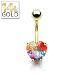 14K Gold Belly Ring: Heart & Illuminating Gem image