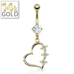Gold Belly Ring 14 Karat Triple Flower Heart image