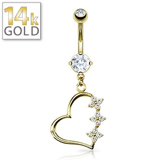 Gold Belly Ring 14 Karat Triple Flower Heart