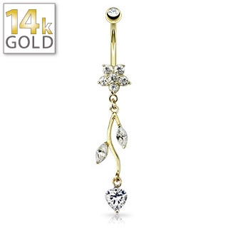 Belly Ring Gold 14K Flower & Vine