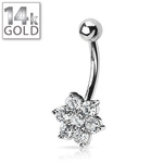 White Gold Belly Button Ring w/Flower image