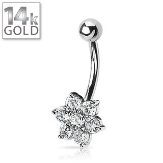 White Gold Belly Button Ring w/Flower