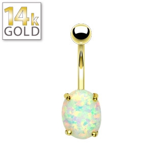 Opal Belly Ring - 14K Gold