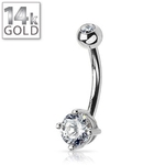White Gold Belly Button Ring Round Gem image