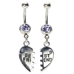 Bestfriend Belly Button Rings - Lt Purple Gems image