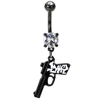 Gun Belly Button Ring Cheetah Print