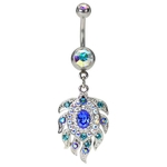 Peacock Belly Button Ring Jeweled Dangling image