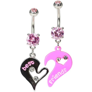 Pink Heart Best Friends Navel Rings