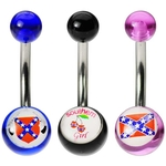 3-Pack Rebel Confederate Flag Belly Rings image