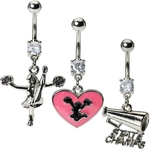 Cheer Belly Button Rings - Pack of 3 Navel Rings image