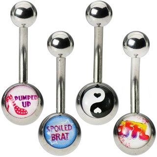 4-Pack Girly Logo Belly Button Rings