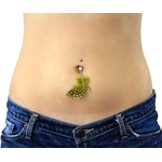 Neon Feather Belly Button Ring - Black & Yellow image