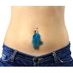 Aqua Feather Polka Dot Belly Button Ring image