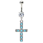 Turquoise Cross Belly Ring image