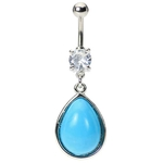 Turquoise Stone Belly Button Ring image