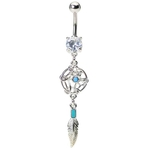 Native American Dreamcatcher Turquoise Belly Ring image
