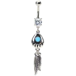 Indian Feather Turquoise Bear Claw Belly Ring image