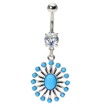 Turquoise Vintage Native American Belly Ring image