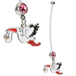 Pregnant Belly Button Ring - Stork image